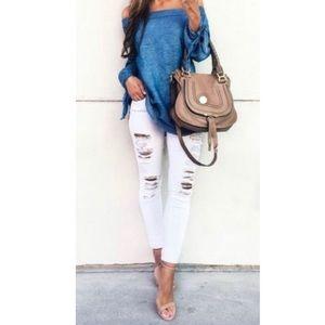 Denim - White distress skinny jeans